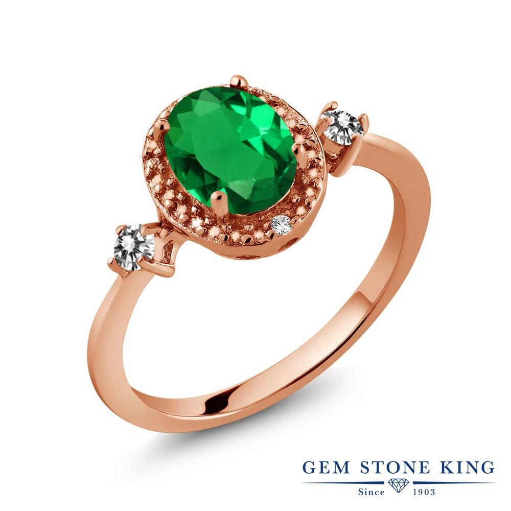 1.14カラット ナノエメラルド 指輪 レディース リング 天然 ダイヤモンド ピンクゴールド 加工 シルバー925 ブランド おしゃれ 緑 大粒 ヘイロー プレゼント 女性 彼女 妻 誕生日