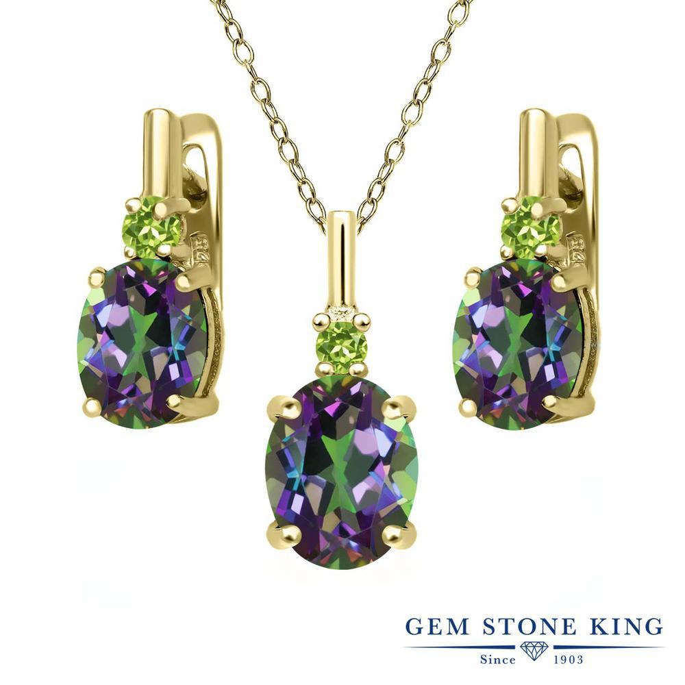 Gem Stone King 6.97カラット 天然石 ミスティックトパーズ(グリーン) 天然石ペリドット シルバー 925 イエローゴールドコーティング ペンダント&ピアスセット レディース 大粒 天然石 誕生日プレゼント
