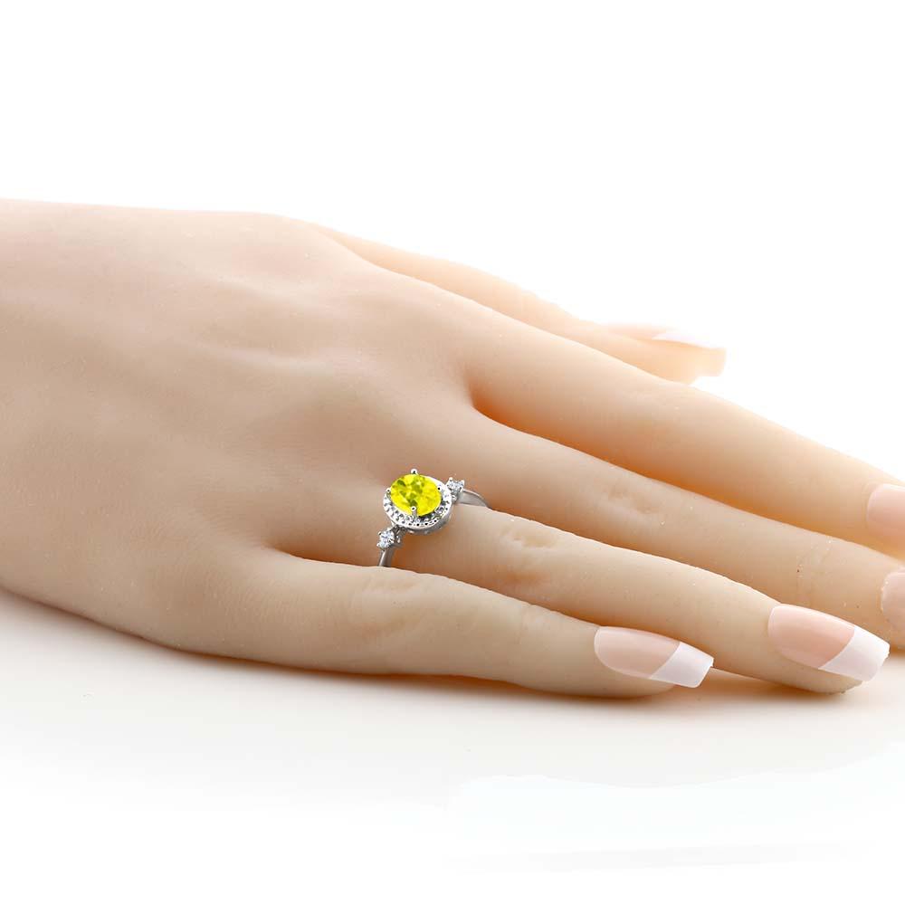 1 67カラット 天然石 ミスティックトパーズイエロー指輪 レディース リング 合成ホワイトサファイア天然 ダイヤモンド シルバー925 ブランド おしゃれ 大粒 ヘイロー 金属アレルギー対応5j34ARL