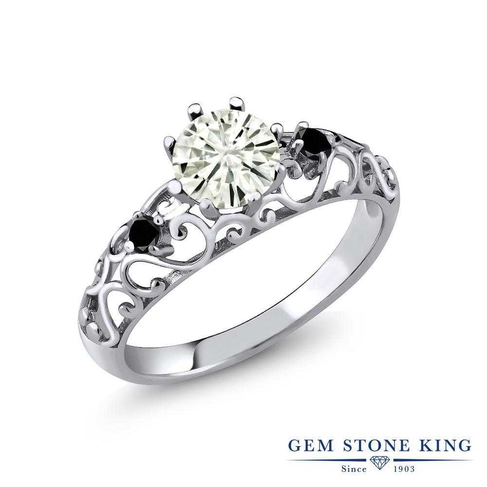 【10%OFF】 Gem Stone King 0.91カラット Forever Classic モアサナイト Charles & Colvard ブラックダイヤモンド 指輪 リング レディース シルバー925 モアッサナイト シンプル ダブルストーン クリスマスプレゼント 女性 彼女 妻 誕生日