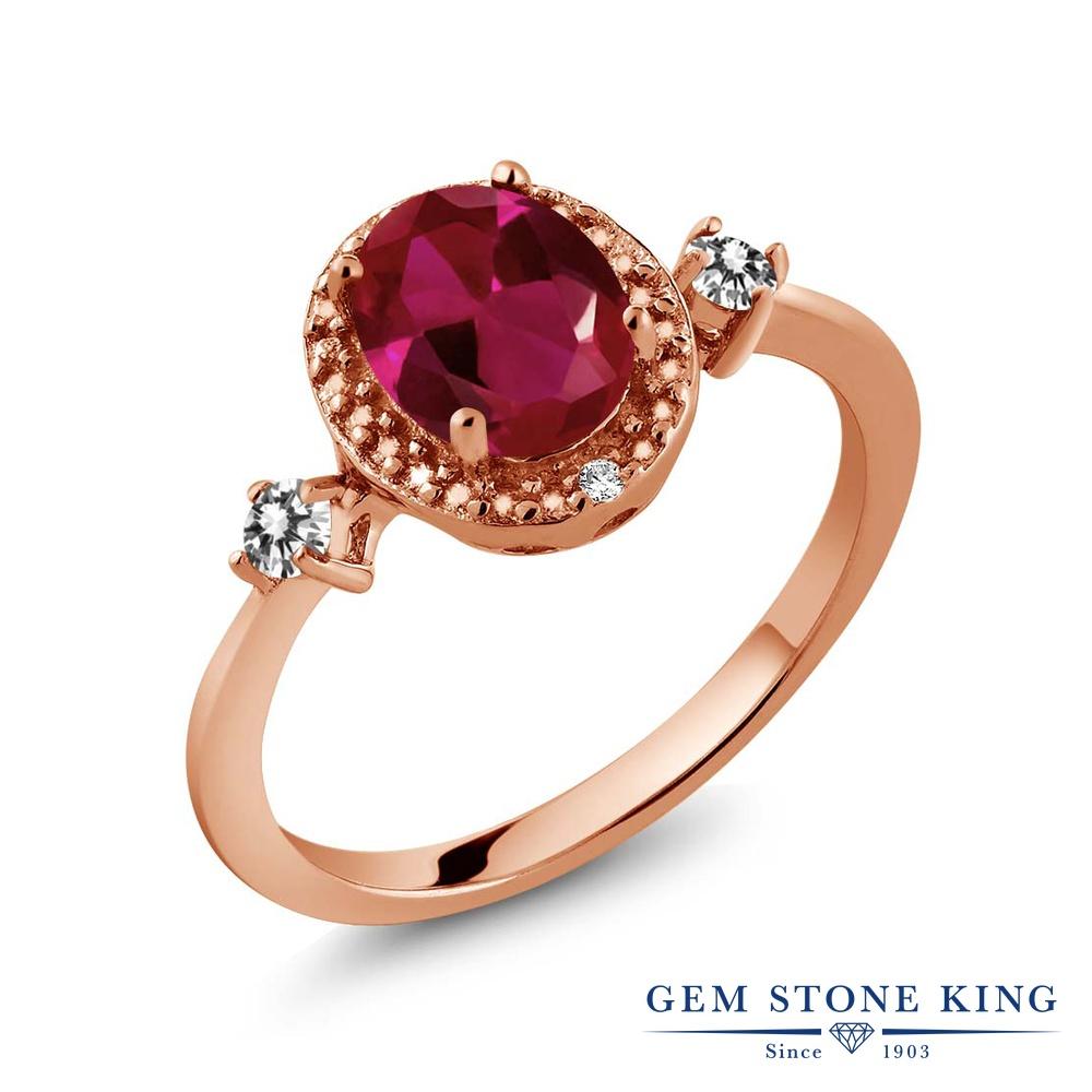 Gem Stone King 1.29カラット 合成ルビー 天然 ダイヤモンド シルバー925 ピンクゴールドコーティング 指輪 リング レディース 大粒 ヘイロー 金属アレルギー対応 誕生日プレゼント