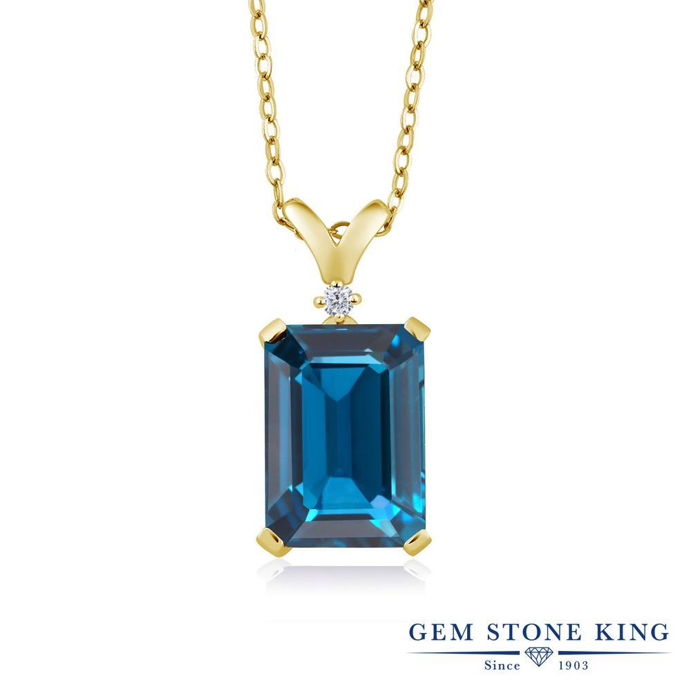 Gem Stone King 8.52カラット 天然 ロンドンブルートパーズ 天然 ダイヤモンド シルバー925 イエローゴールドコーティング ネックレス ペンダント レディース 大粒 シンプル 天然石 11月 誕生石 金属アレルギー対応 誕生日プレゼント