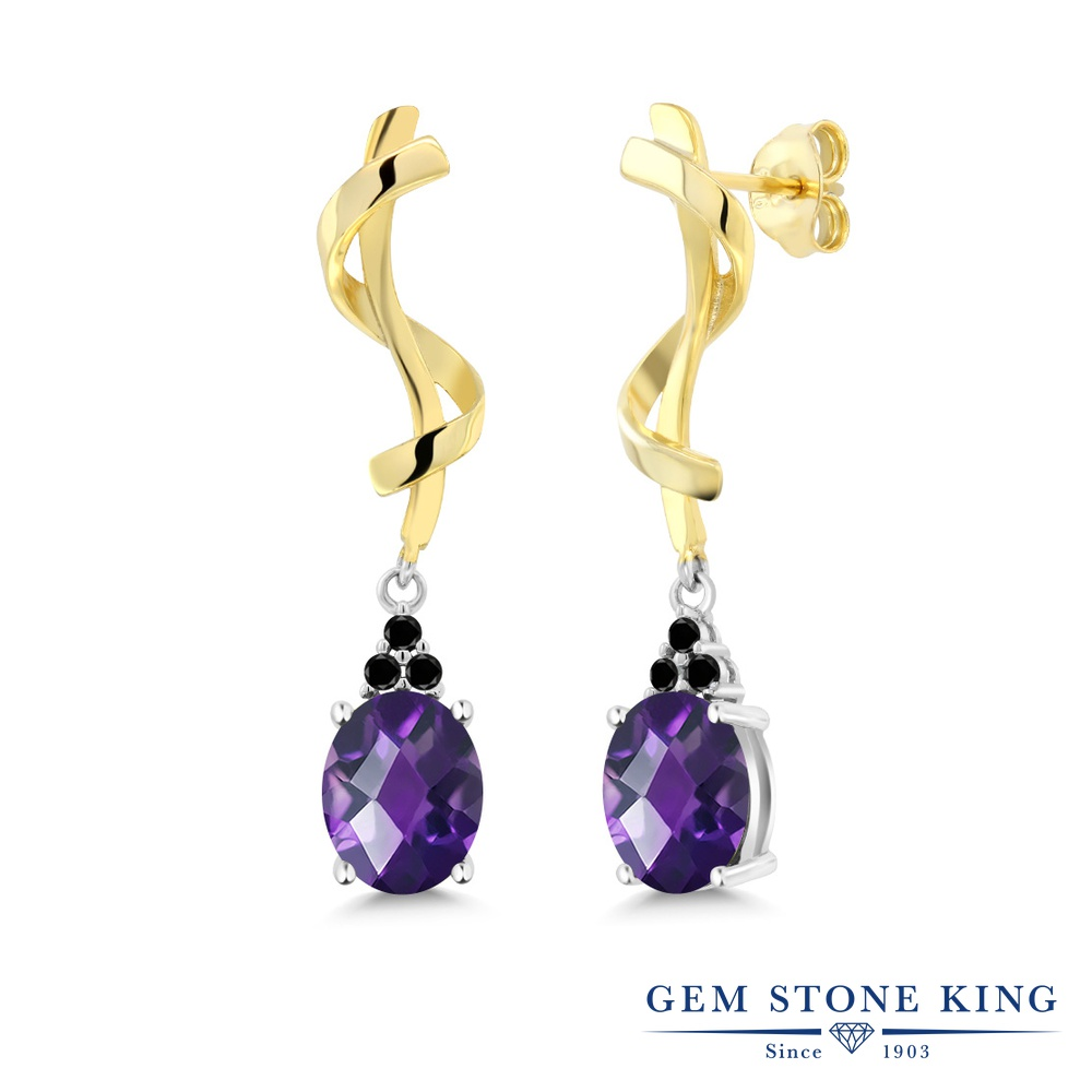 Gem Stone King 3.15カラット 天然 アメジスト 天然ブラックダイヤモンド シルバー925 ピアス レディース 大粒 ぶら下がり 天然石 2月 誕生石 金属アレルギー対応 誕生日プレゼント