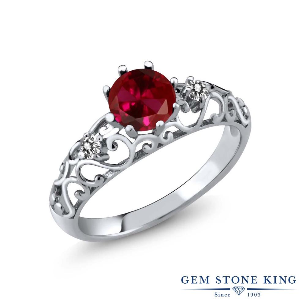Gem Stone King 1.12カラット 合成ルビー 天然 ダイヤモンド シルバー925 指輪 リング レディース 大粒 シンプル ダブルストーン 金属アレルギー対応 誕生日プレゼント