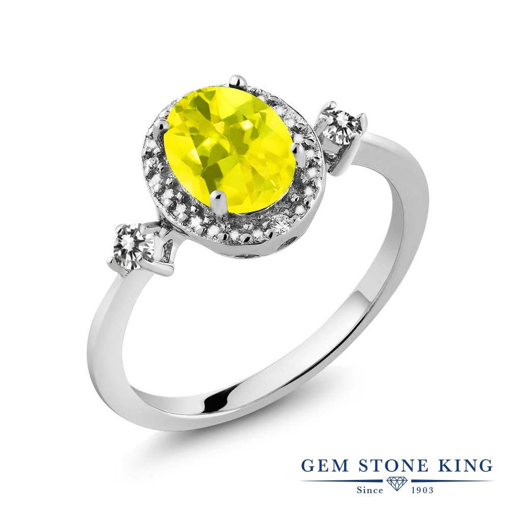 Gem Stone King 1.44カラット 天然石 ミスティックトパーズ (イエロー) 天然 ダイヤモンド シルバー925 指輪 リング レディース 大粒 ヘイロー 天然石 金属アレルギー対応 誕生日プレゼント