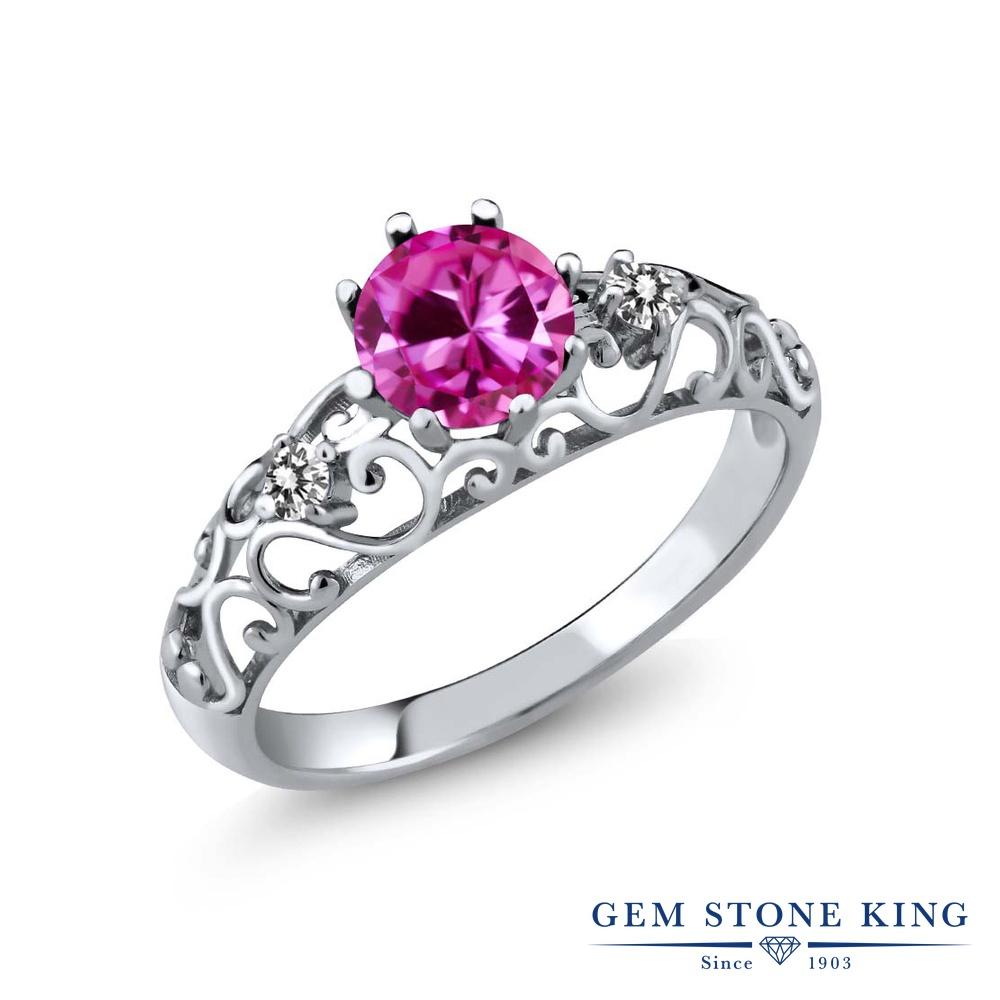 Gem Stone King 1.12カラット 合成ピンクサファイア 天然 ダイヤモンド シルバー925 指輪 リング レディース 大粒 シンプル ダブルストーン 金属アレルギー対応 誕生日プレゼント