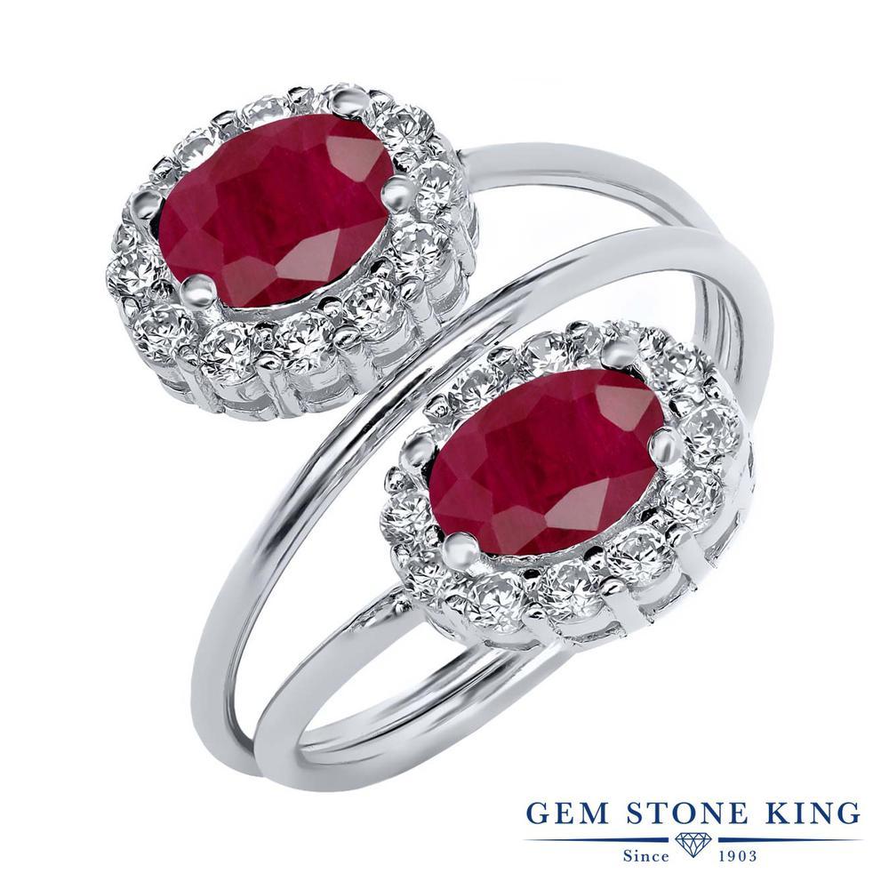 Gem Stone King 2.82カラット 天然 ルビー シルバー925 指輪 リング レディース 大粒 天然石 7月 誕生石 金属アレルギー対応 誕生日プレゼント
