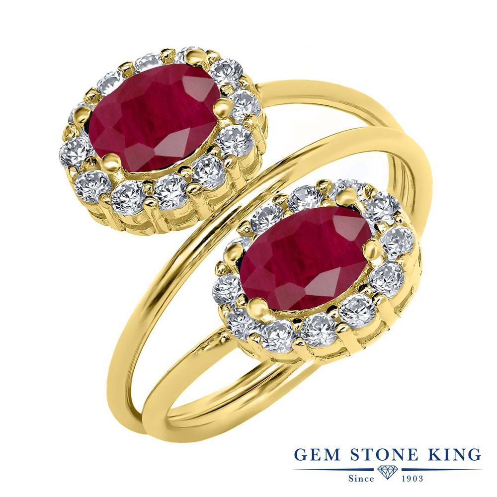 Gem Stone King 2.82カラット 天然 ルビー シルバー925 イエローゴールドコーティング 指輪 リング レディース 大粒 天然石 7月 誕生石 金属アレルギー対応 誕生日プレゼント