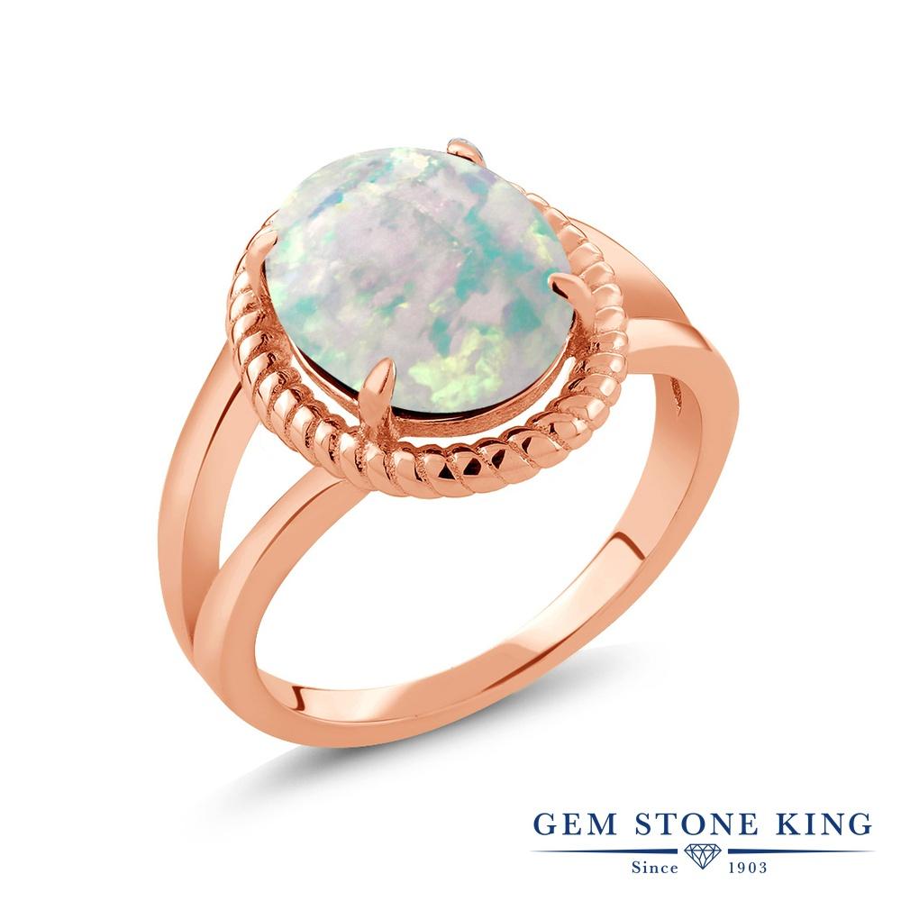 Gem Stone King 2カラット シミュレイテッド ホワイトオパール シルバー925 ピンクゴールドコーティング 指輪 リング レディース 大粒 一粒 シンプル ソリティア 10月 誕生石 金属アレルギー対応 誕生日プレゼント
