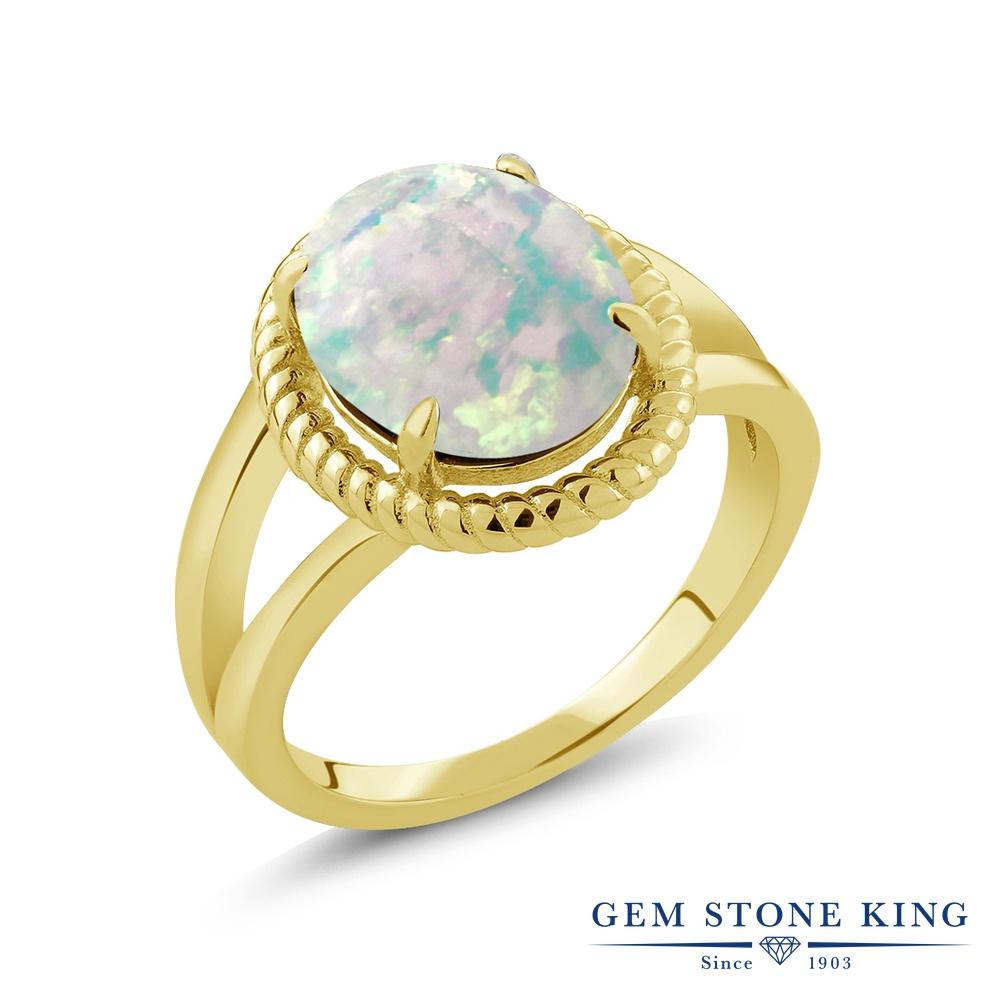 Gem Stone King 2カラット シミュレイテッド ホワイトオパール シルバー925 イエローゴールドコーティング 指輪 リング レディース 大粒 一粒 シンプル ソリティア 10月 誕生石 金属アレルギー対応 誕生日プレゼント