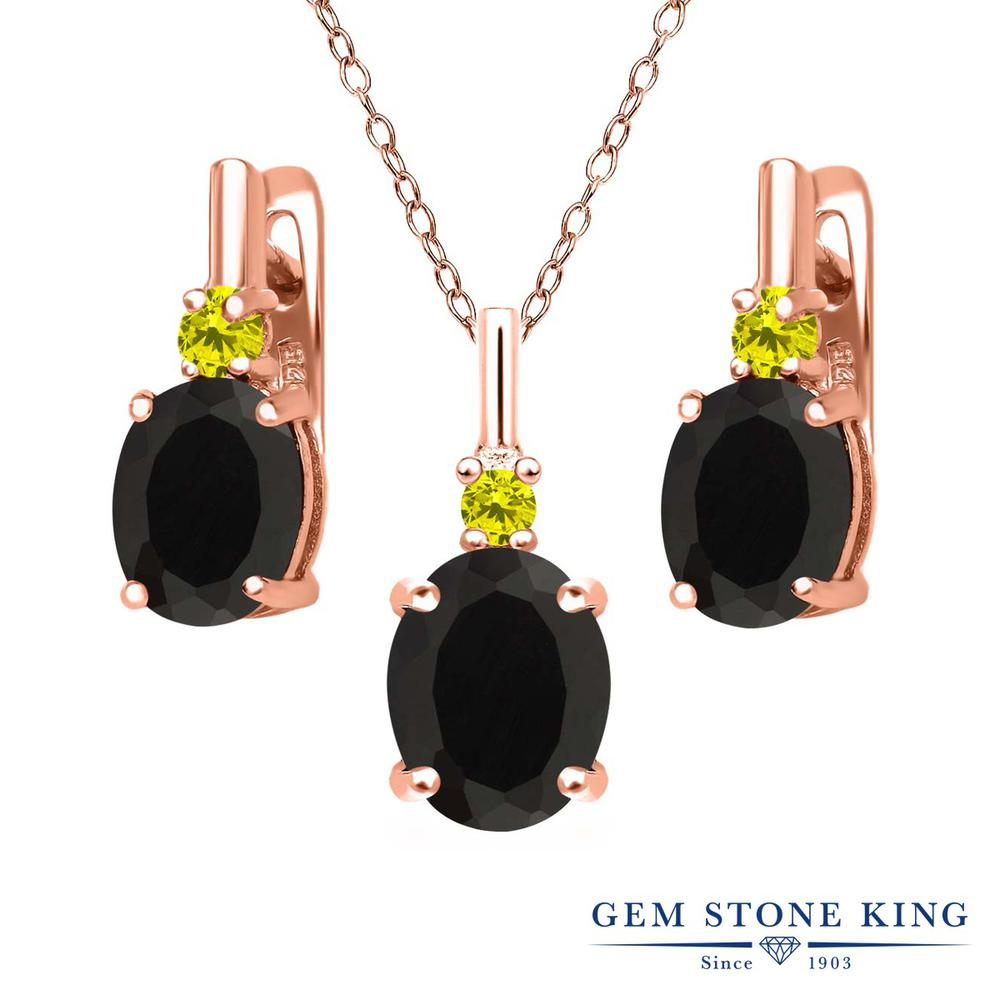 Gem Stone King 4.96カラット 天然ブラックオニキス シルバー 925 ローズゴールドコーティング 天然イエローダイヤモンド ペンダント&ピアスセット レディース 大粒 天然石 誕生石 誕生日プレゼント