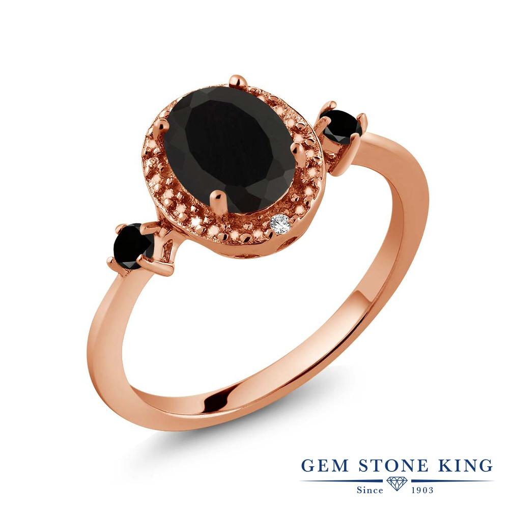 1.39カラット 天然 オニキス ブラックダイヤモンド 指輪 リング レディース シルバー925 ピンクゴールド 加工 大粒 ヘイロー 天然石 8月 誕生石 金属アレルギー対応