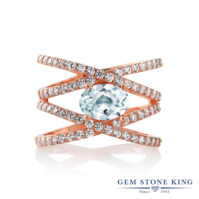 Gem Stone King 2.03カラット 天然 アクアマリン シルバー925 ピンクゴールドコーティング 指輪 リング レディース 大粒 クロスオーバー 天然石 3月 誕生石 金属アレルギー対応 誕生日プレゼント