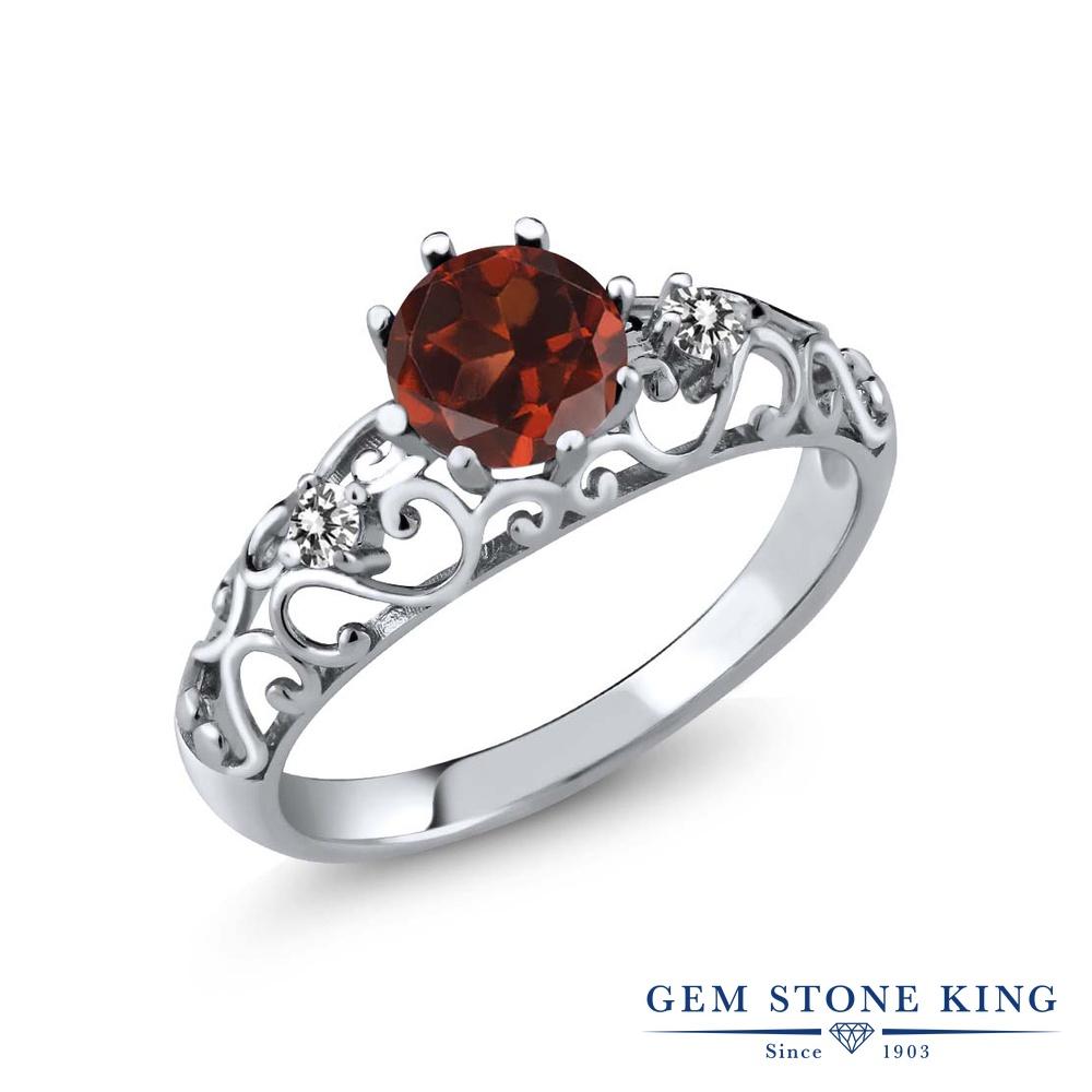 Gem Stone King 1.12カラット 天然 ガーネット 天然 ダイヤモンド シルバー925 指輪 リング レディース 大粒 シンプル ダブルストーン 天然石 1月 誕生石 金属アレルギー対応 誕生日プレゼント