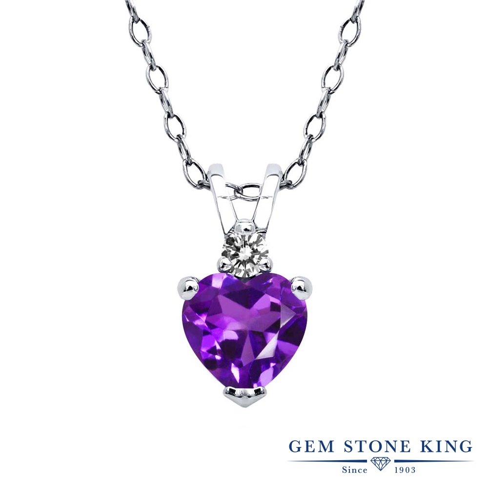 Gem Stone King 0.43カラット 天然アメジスト シルバー925 天然ダイヤモンド ネックレス ペンダント レディース 小粒 シンプル 天然石 誕生石 誕生日プレゼント