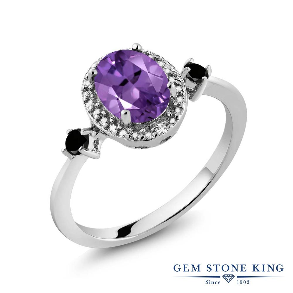 Gem Stone King 1.14カラット 天然 アメジスト ブラックダイヤモンド 指輪 リング レディース シルバー925 アメシスト 大粒 ヘイロー 天然石 2月 誕生石 金属アレルギー対応