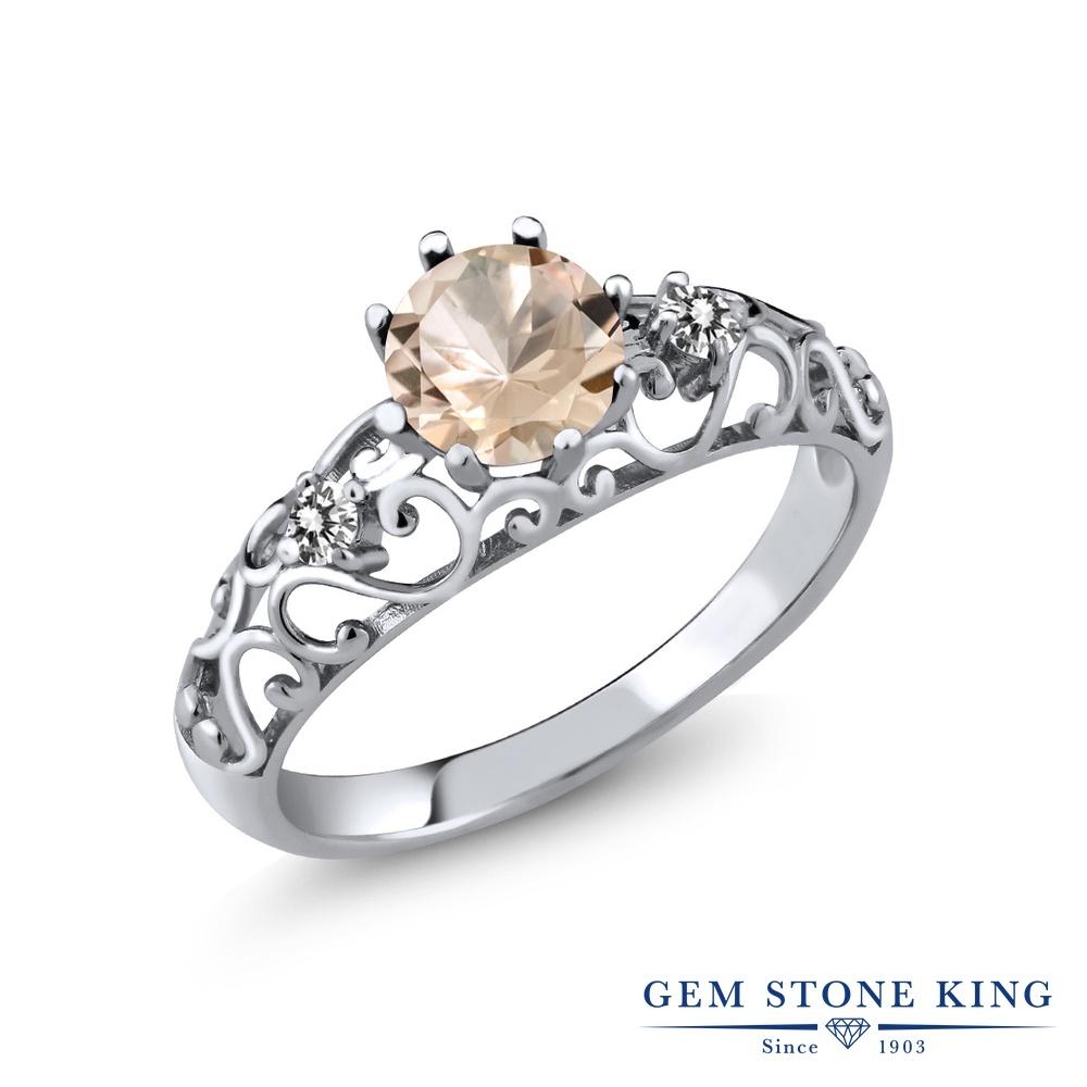 【10%OFF】 Gem Stone King 0.72カラット 天然 モルガナイト (ピーチ) ダイヤモンド 指輪 リング レディース シルバー925 シンプル ダブルストーン 天然石 3月 誕生石 クリスマスプレゼント 女性 彼女 妻 誕生日