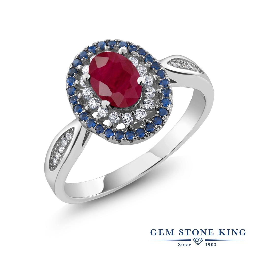 Gem Stone King 1.62カラット 天然 ルビー シルバー925 指輪 リング レディース 大粒 スリーストーン 天然石 7月 誕生石 金属アレルギー対応 誕生日プレゼント