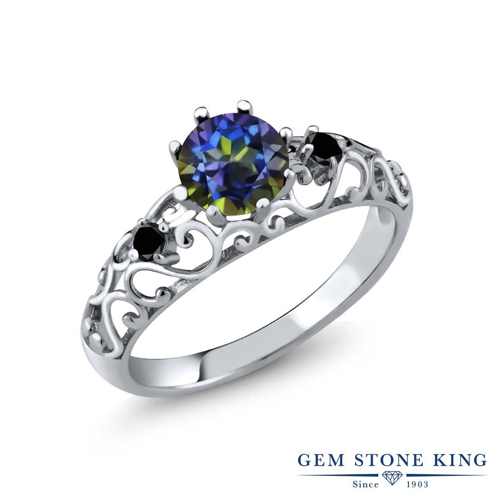 1.11カラット 天然石 ミスティックトパーズ (ブルー) ブラックダイヤモンド 指輪 リング レディース シルバー925 大粒 シンプル ダブルストーン 金属アレルギー対応