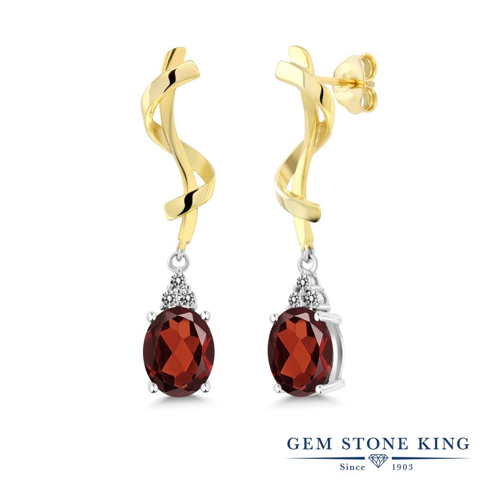 Gem Stone King 3.75カラット 天然 ガーネット 天然 ダイヤモンド シルバー925 ピアス レディース 大粒 ぶら下がり 天然石 1月 誕生石 金属アレルギー対応 誕生日プレゼント