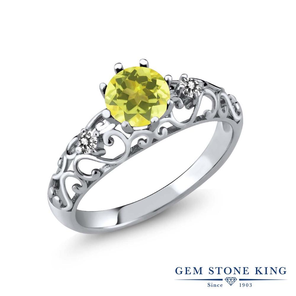Gem Stone King 1.12カラット 天然石 ミスティックトパーズ (イエロー) 天然 ダイヤモンド シルバー925 指輪 リング レディース 大粒 シンプル ダブルストーン 天然石 金属アレルギー対応 誕生日プレゼント