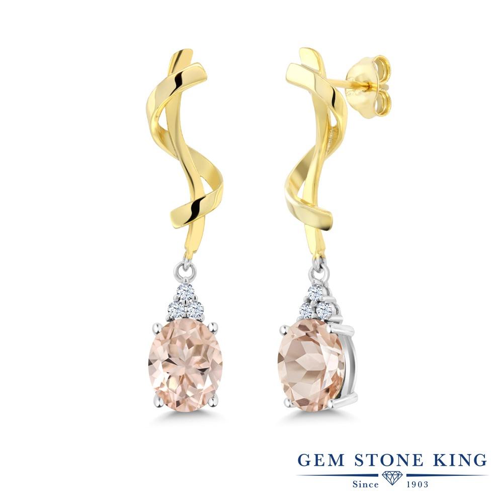 Gem Stone King 3.42カラット 天然 モルガナイト (ピーチ) シルバー925 ピアス レディース 大粒 ぶら下がり 天然石 3月 誕生石 金属アレルギー対応 誕生日プレゼント