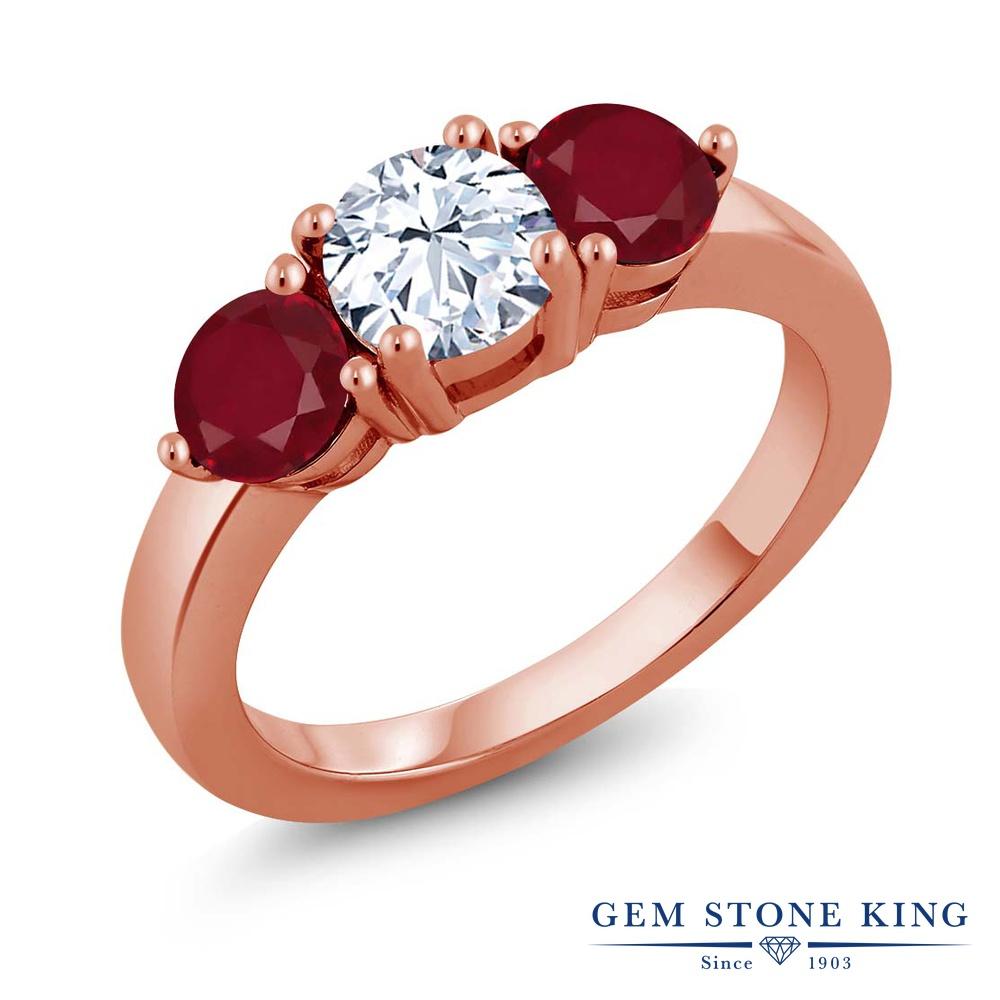 2.32カラット 合成ホワイトサファイア 指輪 レディース リング 天然 ルビー ピンクゴールド 加工 シルバー925 ブランド おしゃれ 3連 白 大粒 シンプル スリーストーン プレゼント 女性 彼女 妻 誕生日