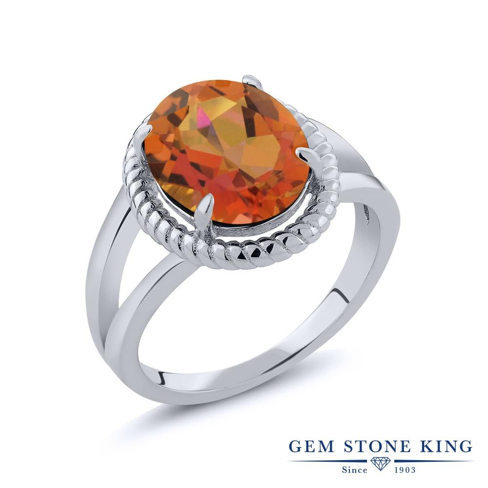 Gem Stone King 3.6カラット 天然 ミスティッククォーツ (トワイライトオレンジ) シルバー925 指輪 リング レディース 大粒 一粒 シンプル ソリティア 天然石 金属アレルギー対応 誕生日プレゼント