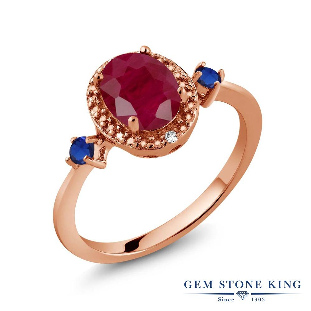 Gem Stone King 1.71カラット 天然 ルビー 天然 ダイヤモンド シルバー925 ピンクゴールドコーティング 指輪 リング レディース 大粒 ヘイロー 天然石 7月 誕生石 金属アレルギー対応 誕生日プレゼント