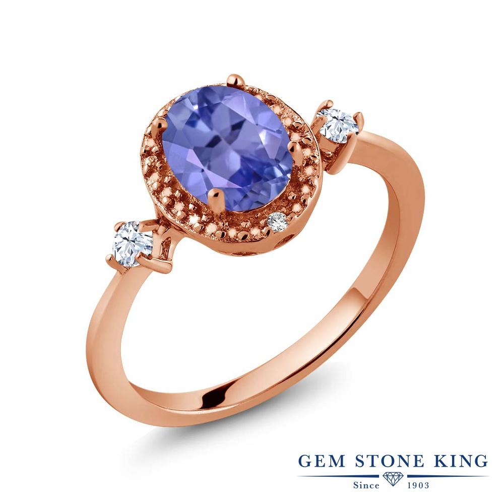 Gem Stone King 1.27カラット 天然石 タンザナイト 合成ホワイトサファイア (ダイヤのような無色透明) 天然 ダイヤモンド シルバー925 ピンクゴールドコーティング 指輪 リング レディース 大粒 ヘイロー 天然石 12月 誕生石 金属アレルギー対応 誕生日プレゼント