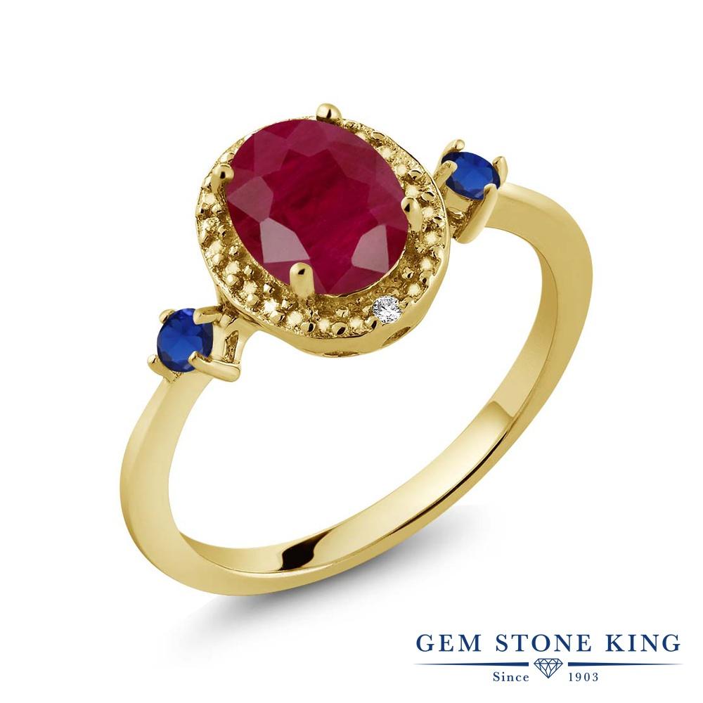 Gem Stone King 1.71カラット 天然 ルビー 天然 ダイヤモンド シルバー925 イエローゴールドコーティング 指輪 リング レディース 大粒 ヘイロー 天然石 7月 誕生石 金属アレルギー対応 誕生日プレゼント
