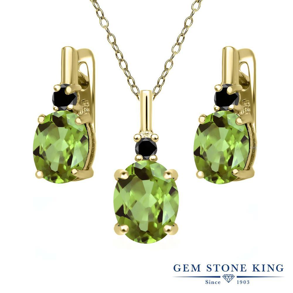 Gem Stone King 4.12カラット 天然石ペリドット シルバー 925 イエローゴールドコーティング 天然ブラックダイヤモンド ペンダント&ピアスセット レディース 大粒 天然石 誕生石 誕生日プレゼント