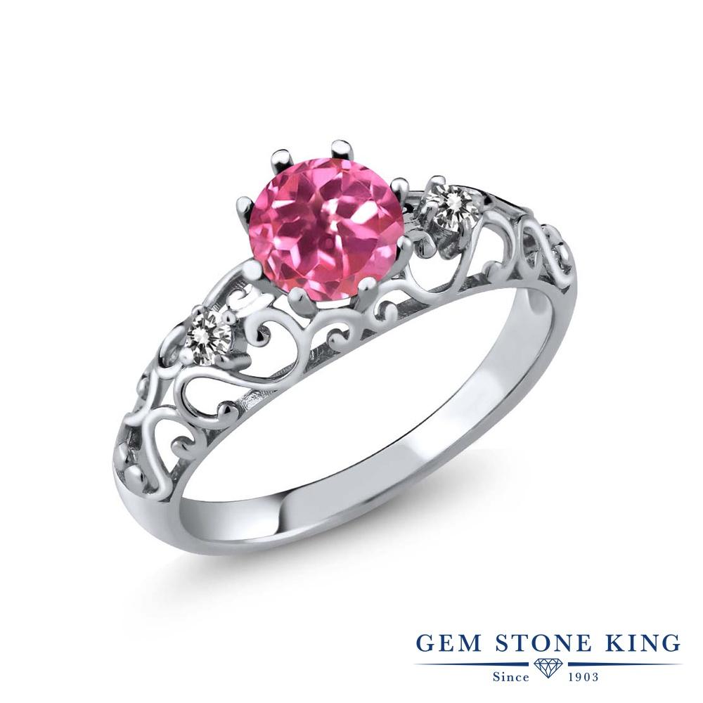 Gem Stone King 1.12カラット 天然 ミスティックトパーズ (ピンク) 天然 ダイヤモンド シルバー925 指輪 リング レディース 大粒 シンプル ダブルストーン 天然石 金属アレルギー対応 誕生日プレゼント