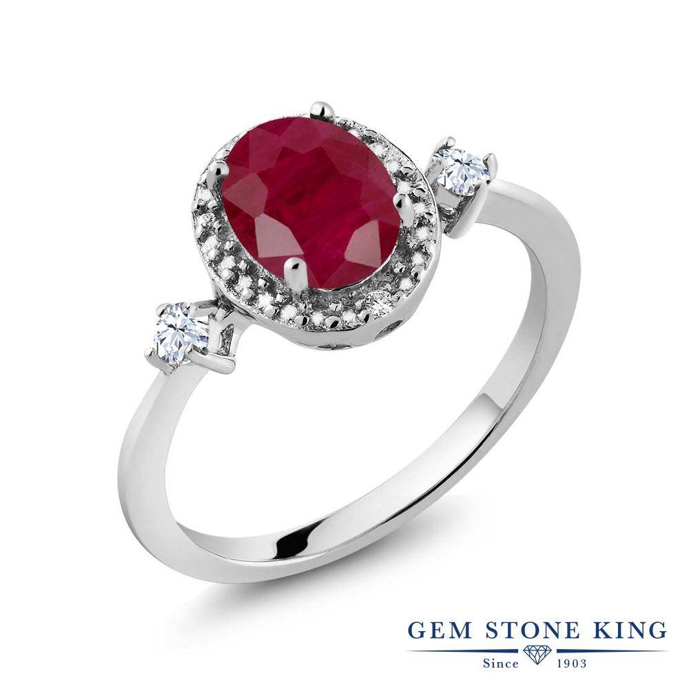 Gem Stone King 1.71カラット 天然 ルビー 合成ホワイトサファイア (ダイヤのような無色透明) 天然 ダイヤモンド シルバー925 指輪 リング レディース 大粒 ヘイロー 天然石 7月 誕生石 金属アレルギー対応 誕生日プレゼント