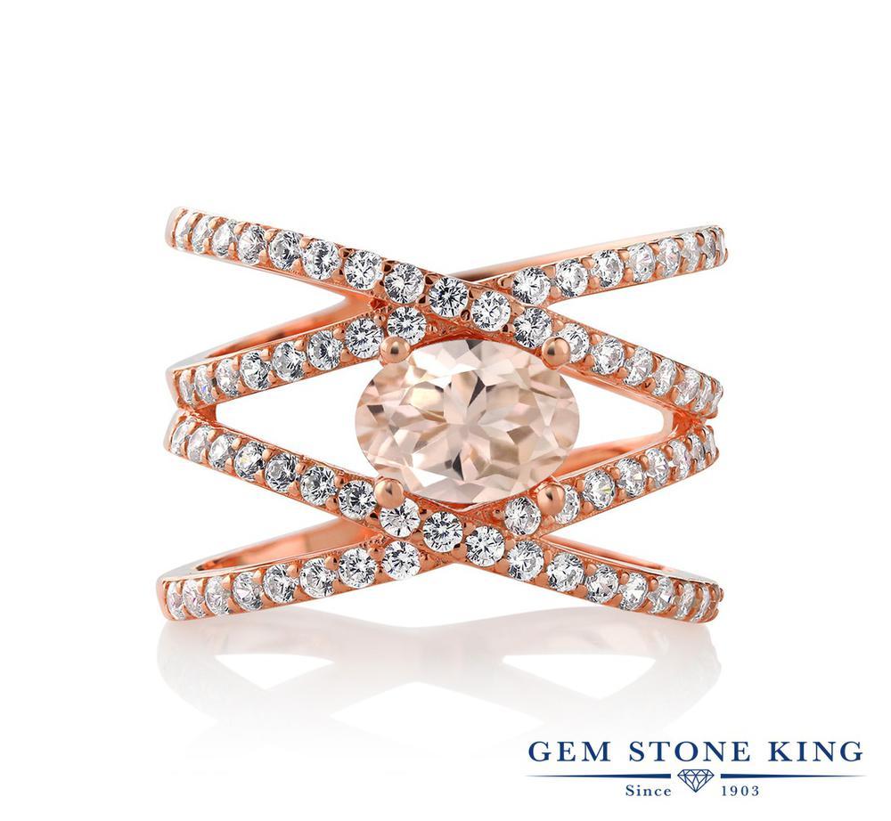 Gem Stone King 1.93カラット 天然 モルガナイト (ピーチ) シルバー925 ピンクゴールドコーティング 指輪 リング レディース 大粒 クロス クロスオーバー 天然石 3月 誕生石 金属アレルギー対応 誕生日プレゼント