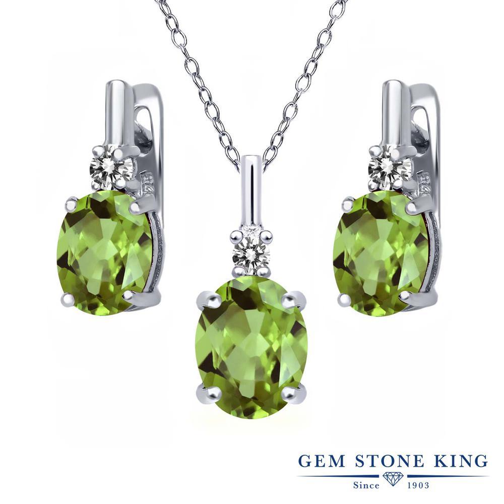 【クーポンで7%OFF】 Gem Stone King 4.12カラット 天然石 ペリドット 天然 ダイヤモンド シルバー925 ペンダント&ピアスセット レディース 大粒 レバーバック 8月 誕生石 プレゼント 女性 彼女 誕生日 クリスマス
