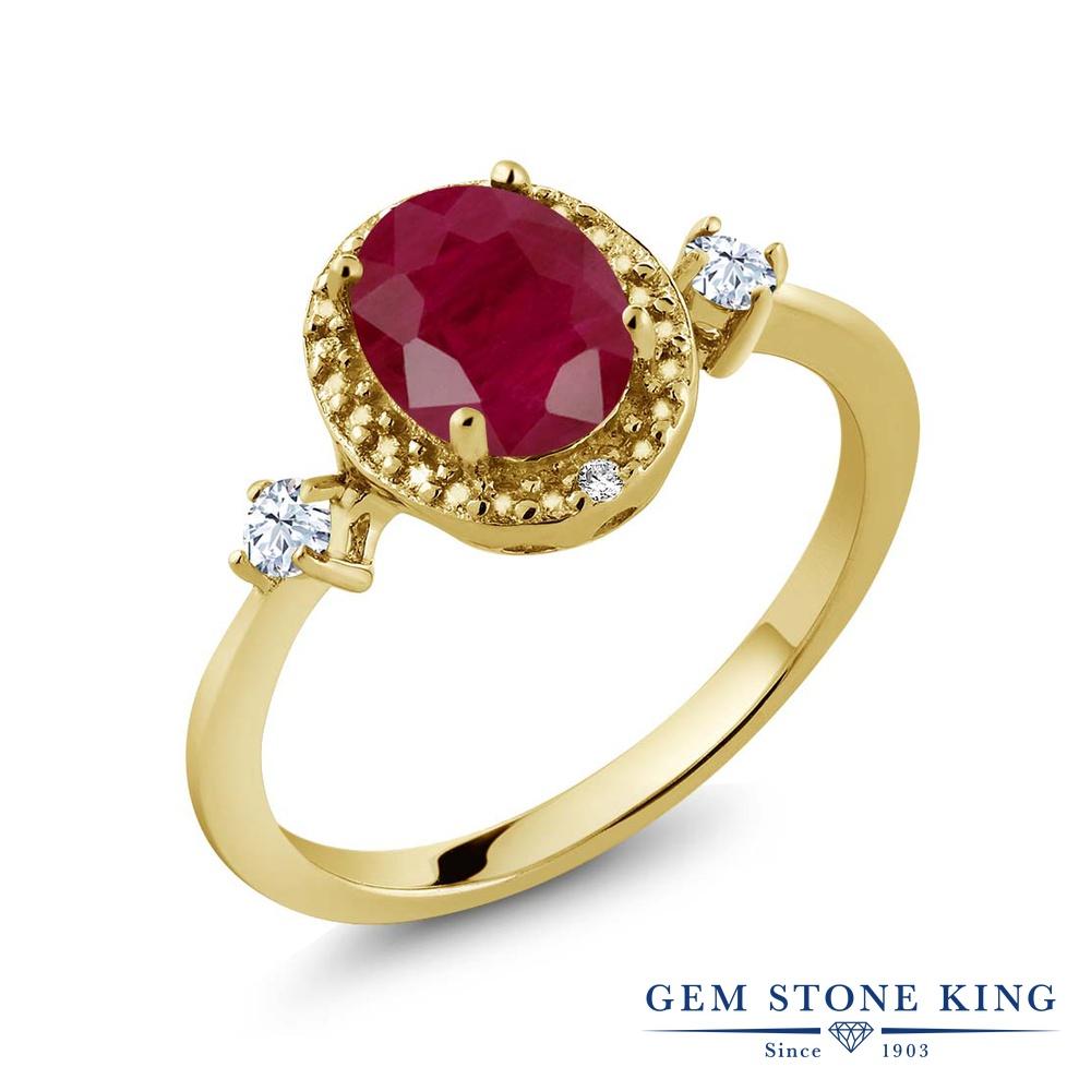 Gem Stone King 1.71カラット 天然 ルビー 合成ホワイトサファイア (ダイヤのような無色透明) 天然 ダイヤモンド シルバー925 イエローゴールドコーティング 指輪 リング レディース 大粒 ヘイロー 天然石 7月 誕生石 金属アレルギー対応 誕生日プレゼント
