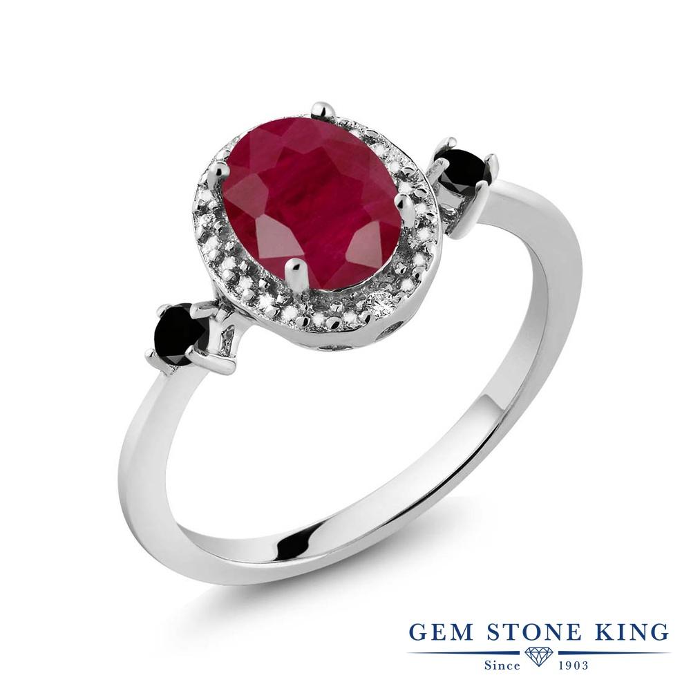Gem Stone King 1.74カラット 天然 ルビー 天然ブラックダイヤモンド シルバー925 指輪 リング レディース 大粒 ヘイロー 天然石 7月 誕生石 金属アレルギー対応 誕生日プレゼント