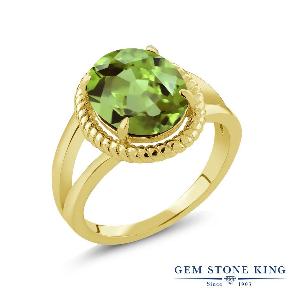 Gem Stone King 3カラット 天然石 ペリドット シルバー925 イエローゴールドコーティング 指輪 リング レディース 大粒 一粒 シンプル ソリティア 天然石 8月 誕生石 金属アレルギー対応 誕生日プレゼント
