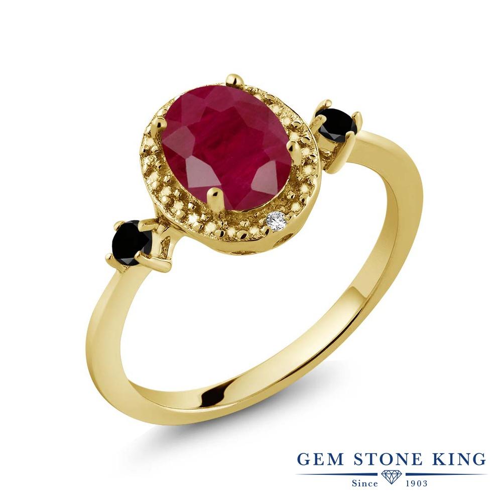 Gem Stone King 1.74カラット 天然 ルビー 天然ブラックダイヤモンド シルバー925 イエローゴールドコーティング 指輪 リング レディース 大粒 ヘイロー 天然石 7月 誕生石 金属アレルギー対応 誕生日プレゼント