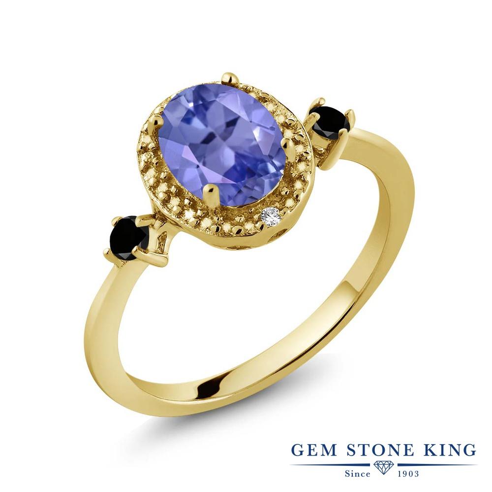 Gem Stone King 1.3カラット 天然石 タンザナイト 天然ブラックダイヤモンド シルバー925 イエローゴールドコーティング 指輪 リング レディース 大粒 ヘイロー 天然石 12月 誕生石 金属アレルギー対応 誕生日プレゼント