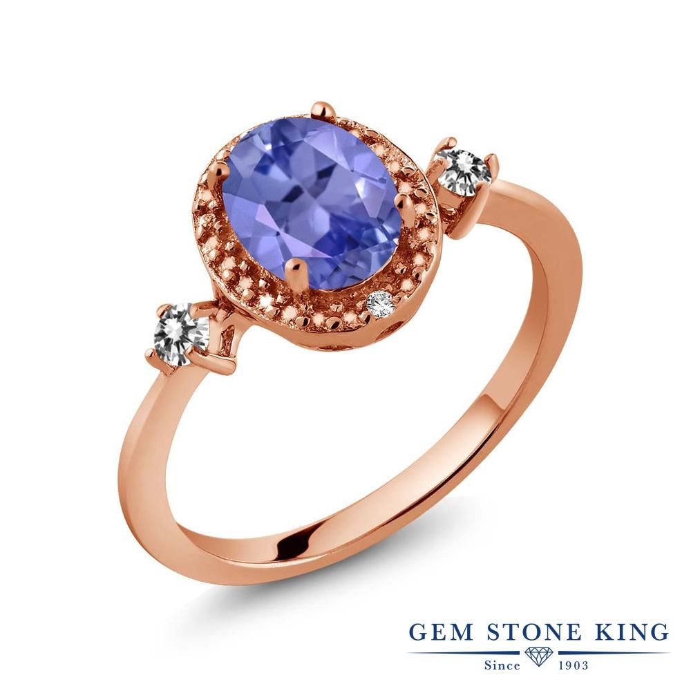 Gem Stone King 1.3カラット 天然石 タンザナイト 天然 ダイヤモンド シルバー925 ピンクゴールドコーティング 指輪 リング レディース 大粒 ヘイロー 天然石 12月 誕生石 金属アレルギー対応 誕生日プレゼント