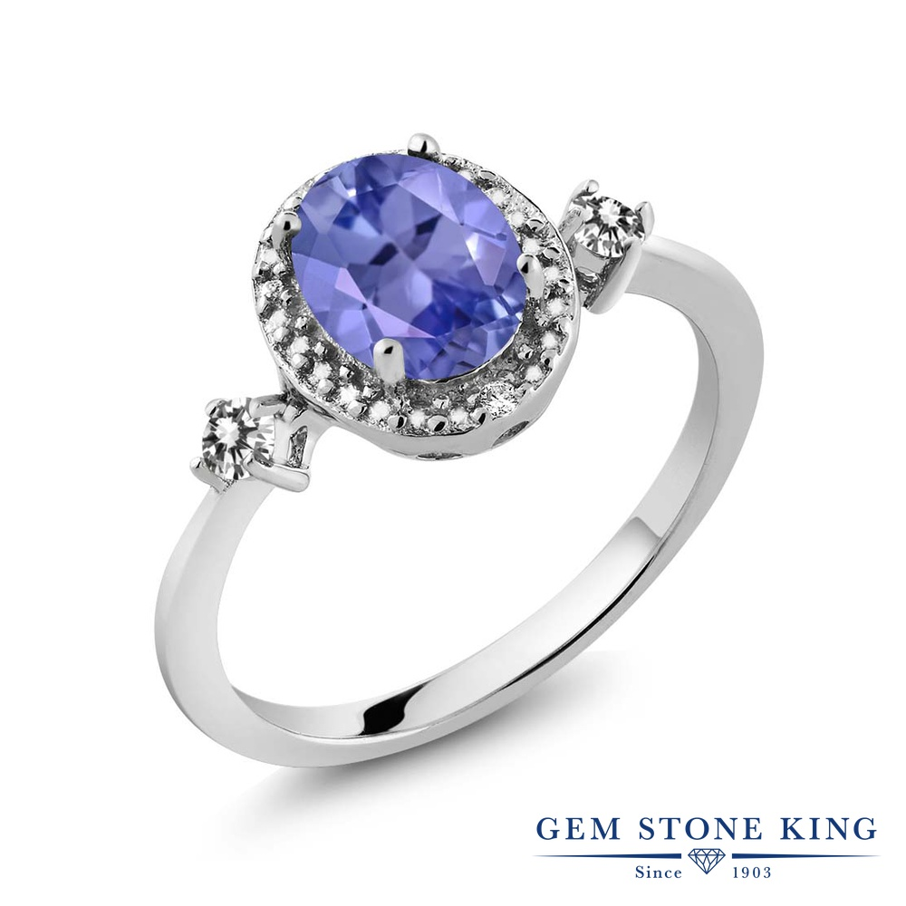 Gem Stone King 1.3カラット 天然石 タンザナイト 天然 ダイヤモンド シルバー925 指輪 リング レディース 大粒 ヘイロー 天然石 12月 誕生石 金属アレルギー対応 誕生日プレゼント