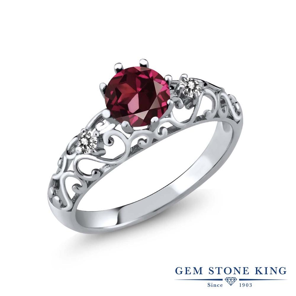 Gem Stone King 1.12カラット 天然 ロードライトガーネット 天然 ダイヤモンド シルバー925 指輪 リング レディース 大粒 シンプル ダブルストーン 天然石 金属アレルギー対応 誕生日プレゼント