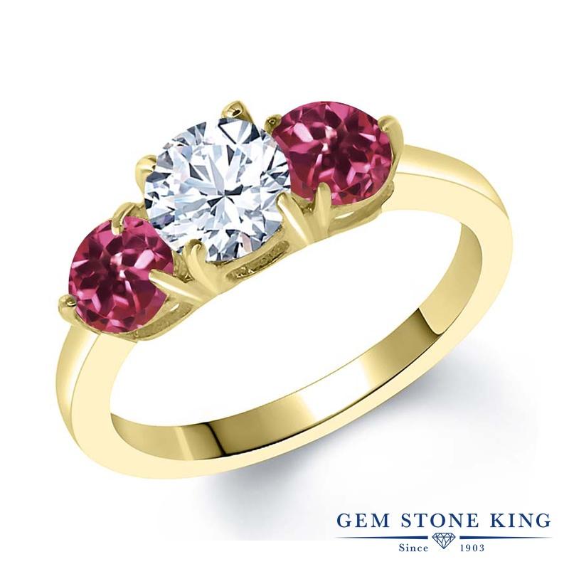 【10%OFF】 Gem Stone King 2.2カラット 合成ホワイトサファイア (ダイヤのような無色透明) AAAグレード 天然 ピンクトルマリン 指輪 リング レディース シルバー925 イエローゴールド 加工 大粒 シンプル スリーストーン クリスマスプレゼント 女性 彼女 妻 誕生日