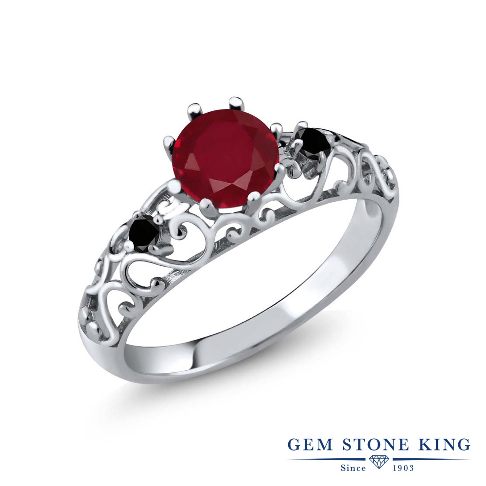 【10%OFF】 Gem Stone King 1.11カラット 天然 ルビー ブラックダイヤモンド 指輪 リング レディース シルバー925 大粒 シンプル ダブルストーン 天然石 7月 誕生石 クリスマスプレゼント 女性 彼女 妻 誕生日