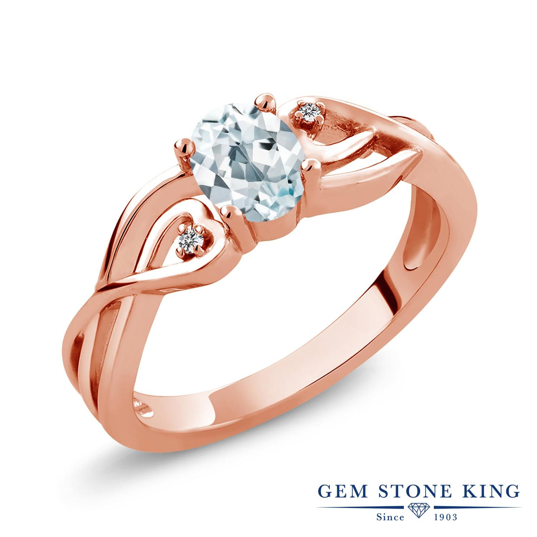 0.44カラット 天然 アクアマリン ダイヤモンド 指輪 リング レディース シルバー925 ピンクゴールド 加工 小粒 シンプル ソリティア 天然石 3月 誕生石 金属アレルギー対応
