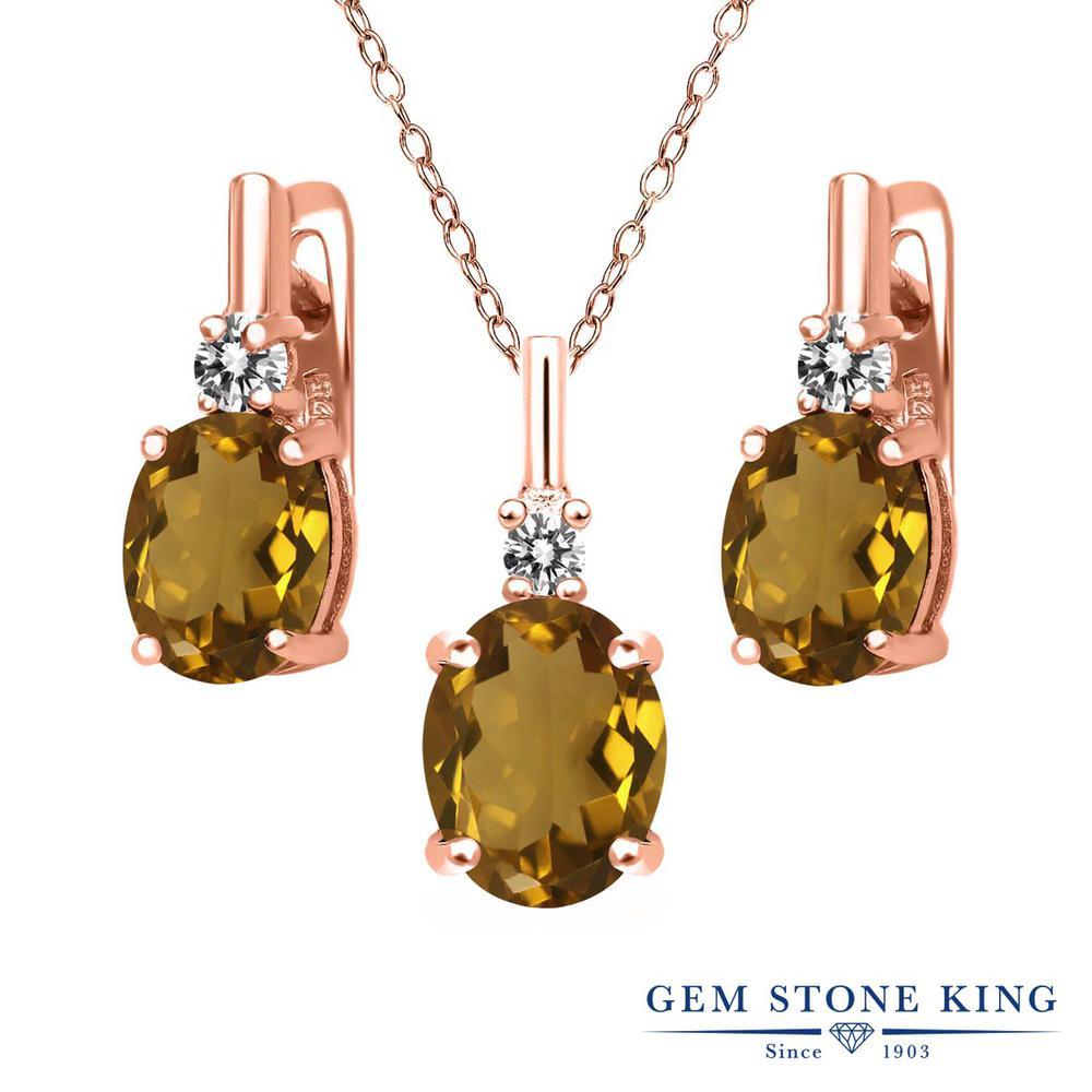 Gem Stone King 4.87カラット 天然石ウィスキークォーツ シルバー 925 ローズゴールドコーティング 天然ダイヤモンド ペンダント&ピアスセット レディース 大粒 天然石 誕生日プレゼント