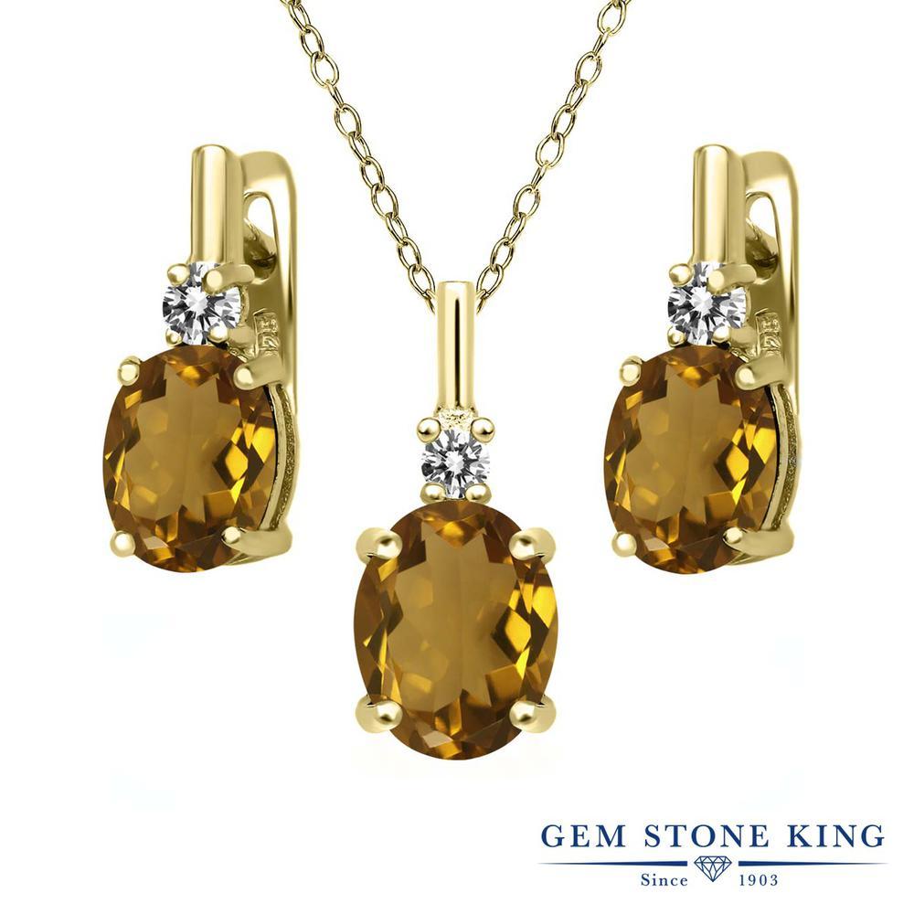 Gem Stone King 4.87カラット 天然石ウィスキークォーツ シルバー 925 イエローゴールドコーティング 天然ダイヤモンド ペンダント&ピアスセット レディース 大粒 天然石 誕生日プレゼント