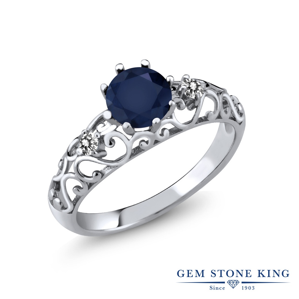 【10%OFF】 Gem Stone King 1.12カラット 天然 サファイア ダイヤモンド 指輪 リング レディース シルバー925 大粒 シンプル ダブルストーン 天然石 9月 誕生石 クリスマスプレゼント 女性 彼女 妻 誕生日